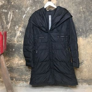 Add Down black zip snap front hooded jacket